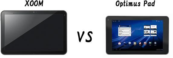xoomとoptimus pad の比較