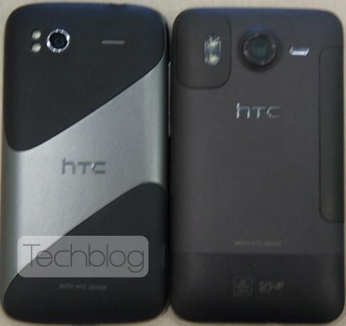 HTC PyramidとHTC Desire HDの寸法比較