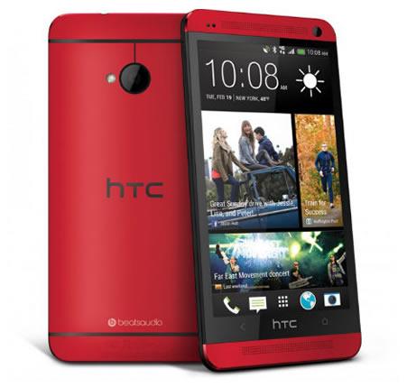 HTC J One HTL22のレッドモデル...